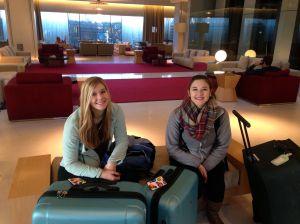 Girls in hotel lobby